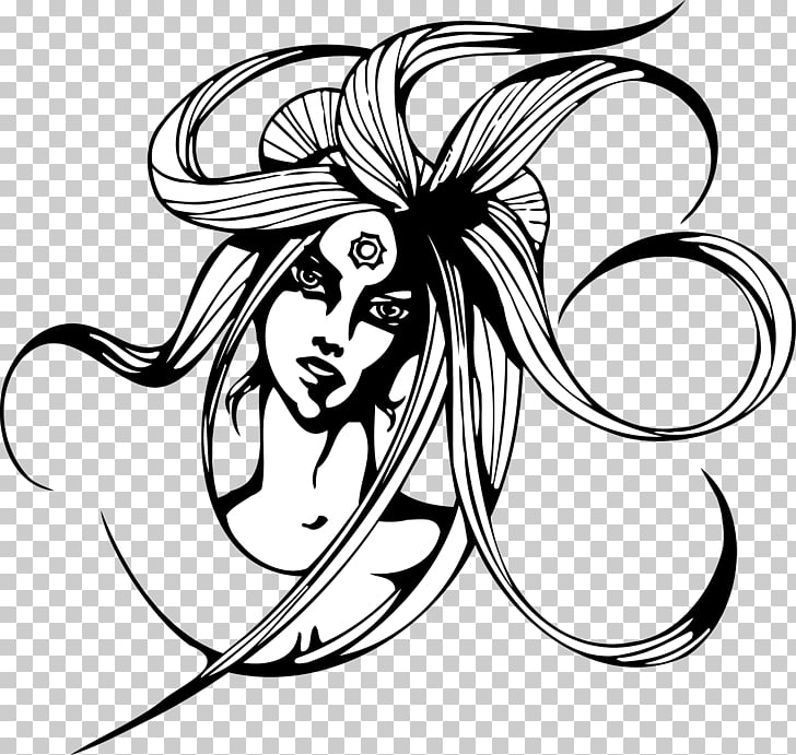 Black and white Woman , weird witch PNG clipart.