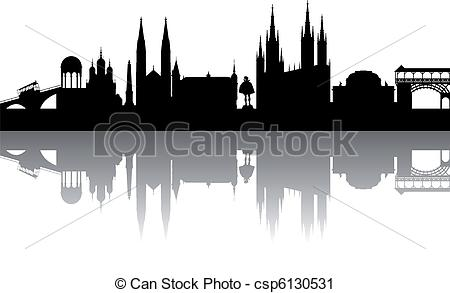 Vector Clip Art of Wiesbaden Silhouette abstract with white.