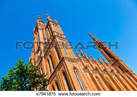 Stock Image of famous Markt Kirche in Wiesbaden, a brick building.