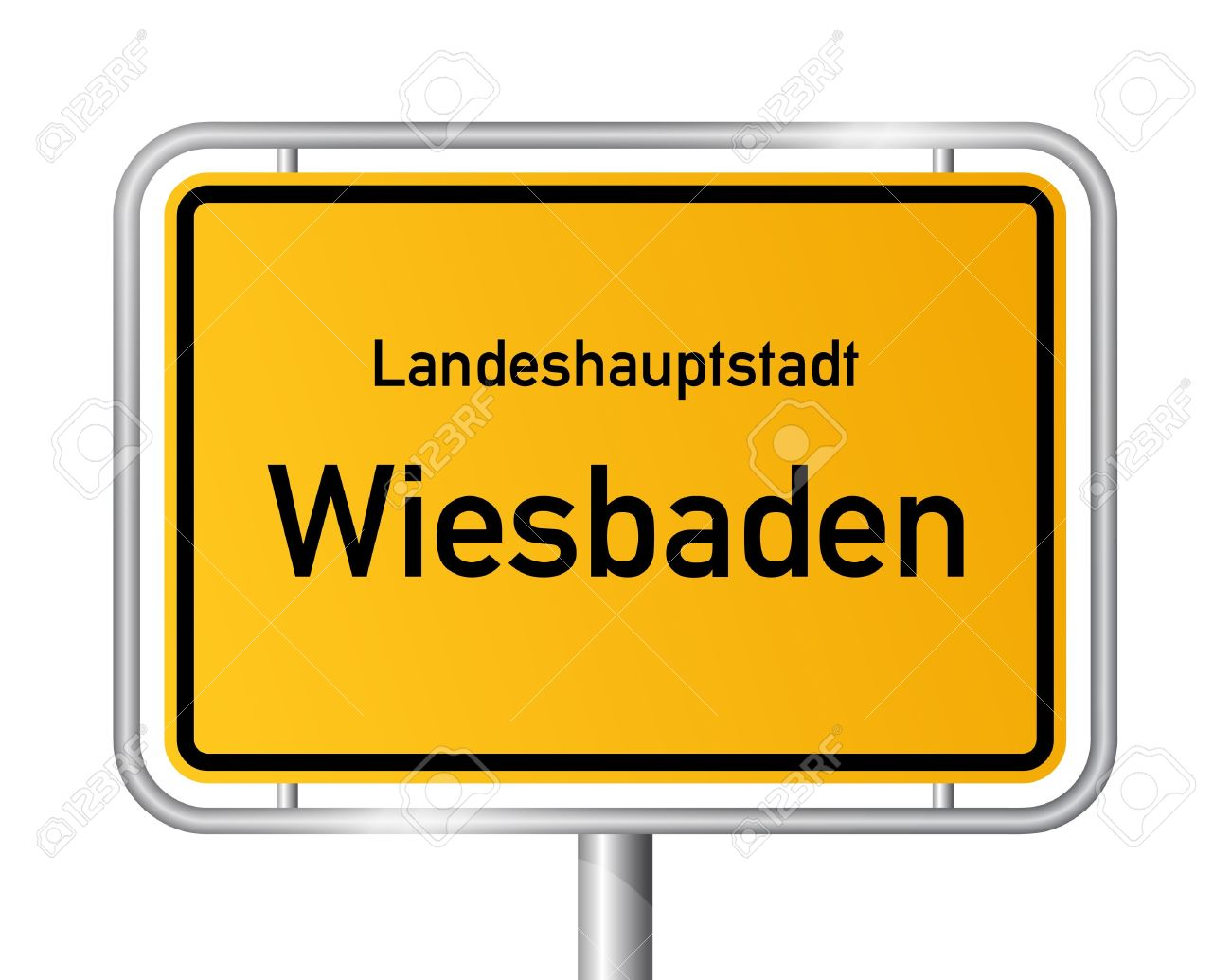 City Limit Sign WIESBADEN Against White Background.