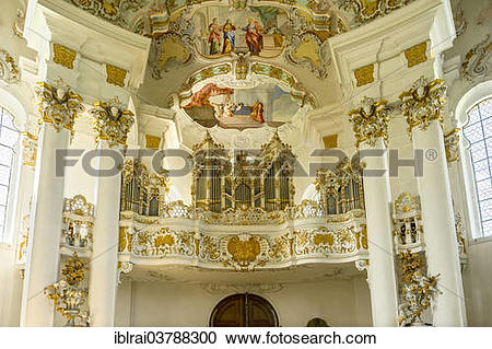 """Stock Photography of """"Music gallery with organ, Wieskirche."""