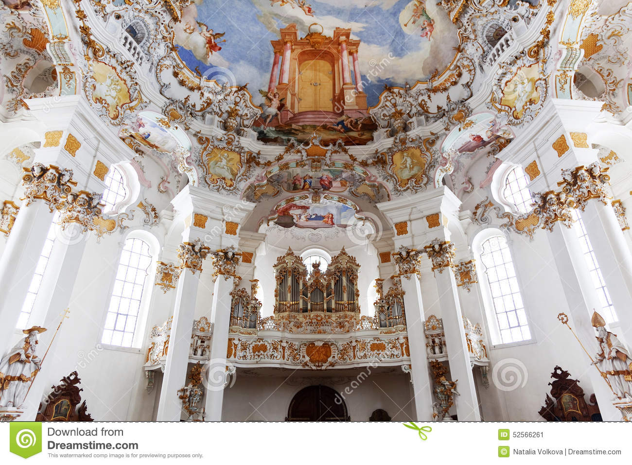 World Heritage Wall And Ceiling Frescoes Of Wieskirche Church In.