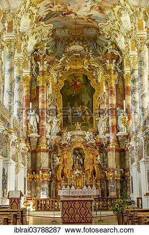 "Picture of ""Chancel choir and high altar, Wieskirche, Steingaden."