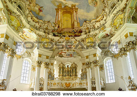 """Pictures of """"Music gallery with organ, Wieskirche, Steingaden."""