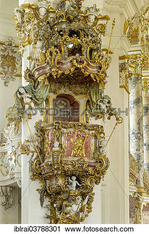 """Stock Photography of """"Pulpit in the nave, Wieskirche, Steingaden."""