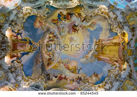 World Heritage Wall Ceiling Frescoes Wieskirche Stock Photo.