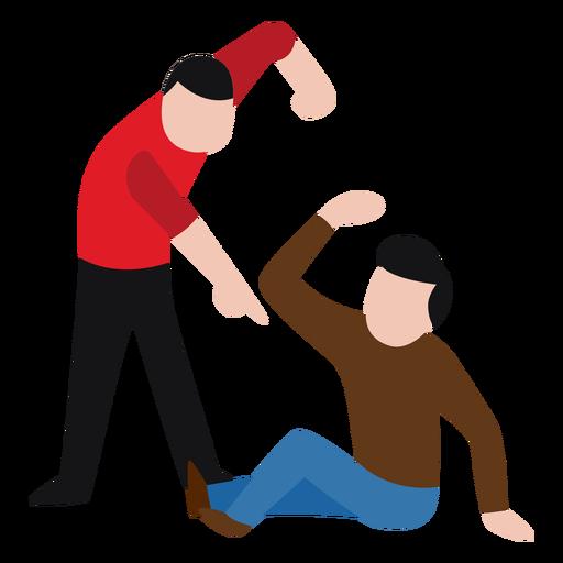 Vandal character beating up man.