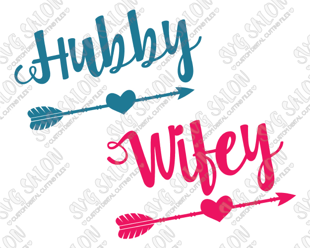 Wifey Hubby Honeymoon Couple\'s Shirt Cut Files in SVG, EPS, DXF, JPEG, and  PNG.