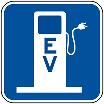 EV Electric Vehicle Charging Station Symbol Reflective Sign, 12x12 in. with  Center Holes on 80 mil Aluminum by ComplianceSigns.