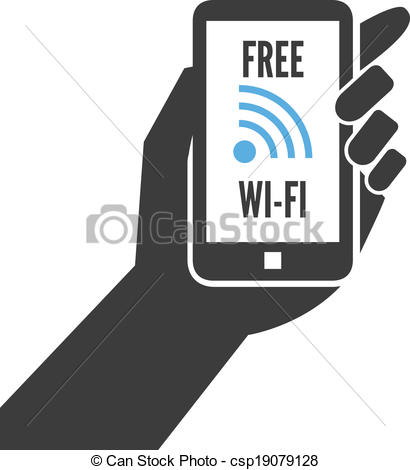 Vector Illustration of Hand holding smartphone with free wifi.