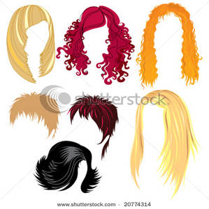 Set of Colorful Wigs.