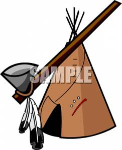 Free Clipart Image: A Native American Pipe with a Wigwam.
