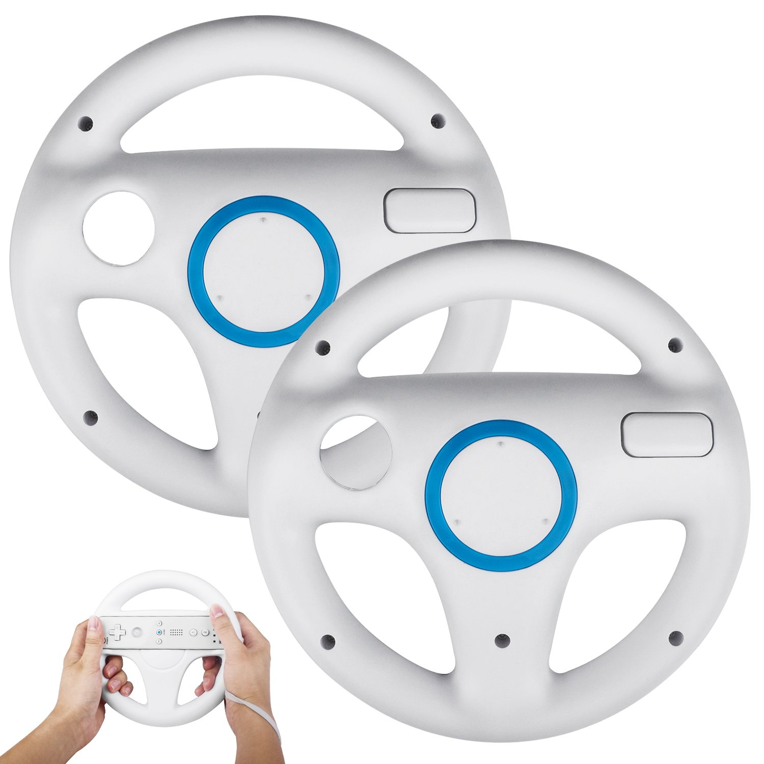 TechKen 2Pack Mario Kart Wii Steering Wheels, Mario Kart Racing Wheel for  Nintendo Wii, Mario Kart, Tank, more Wii or Wii U racing games.