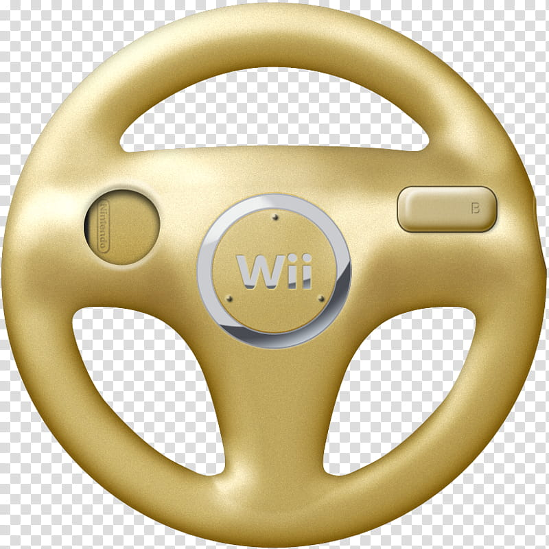 Wii Wheels v , gold Nintendo Wii steering wheel controller.