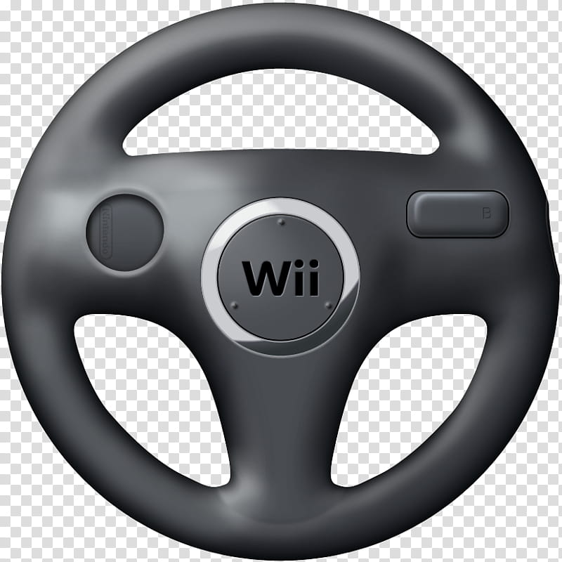 Wii Wheels v , black Nintendo Wii game controller.