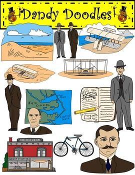 The Wright Brothers: Aviation Pioneers Clip Art by Dandy Doodles.