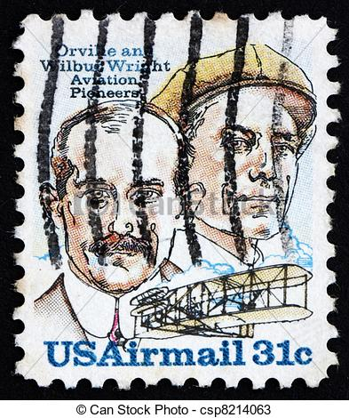 Stock Photos of Postage stamp USA 1978 Orville and Wilbur Wright.