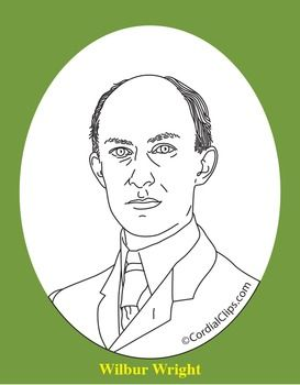 Wilbur Wright Realistic Clip Art, Coloring Page, and Poster.