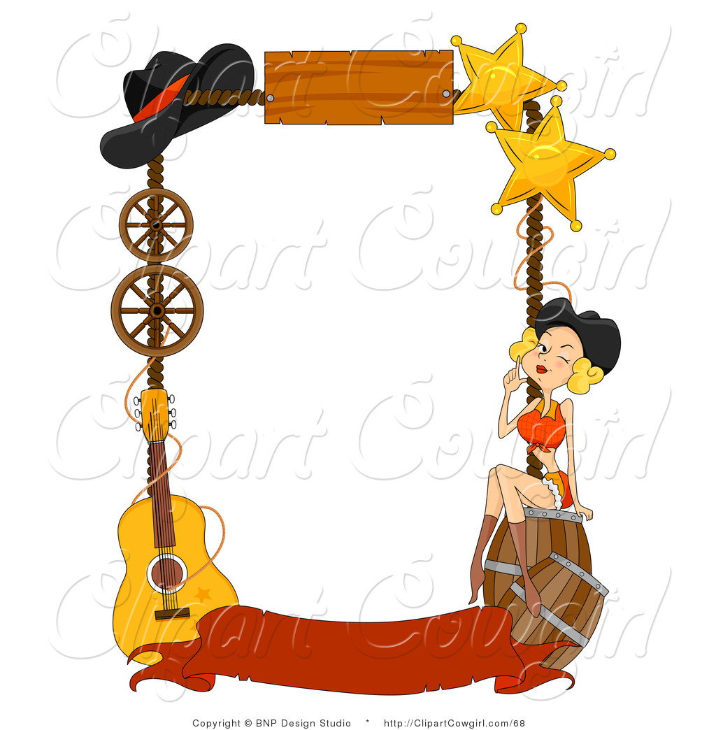 Clipart of a Wild West Frame of Barrels, a Girl, Stars, Hat.