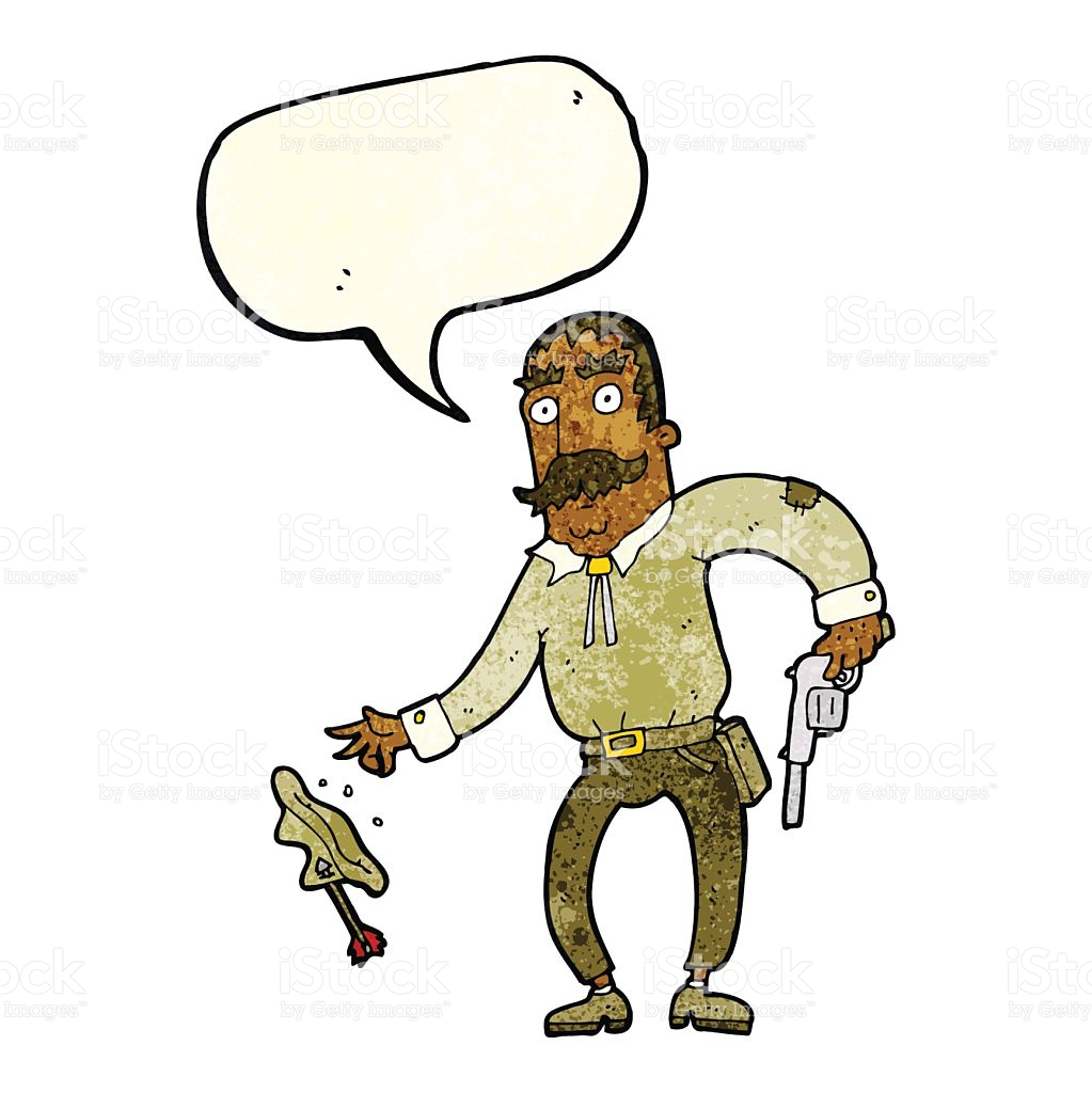 Cartoon Wild West Cowboy With Speech Bubble stock vector art.