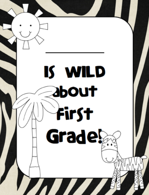Wild about First Grade Folder Cover from Lory from Fun for.