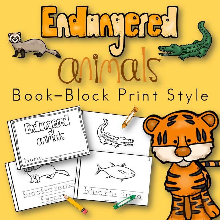 Endangered Animals Book for Kindergarten and 1st Grade.