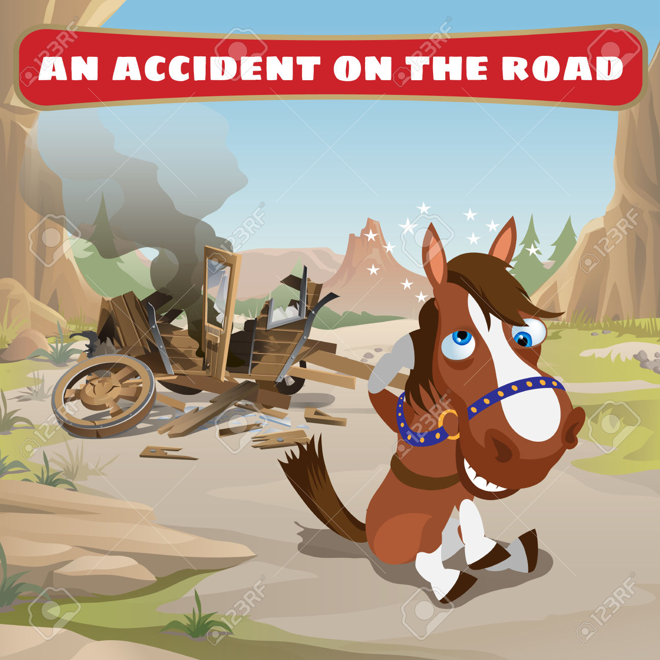Accident On The Road And Contused Horse, Wild West Royalty Free.