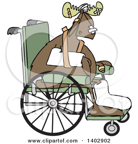 Clipart of a Black and White Moose Walking Upright and Farting.