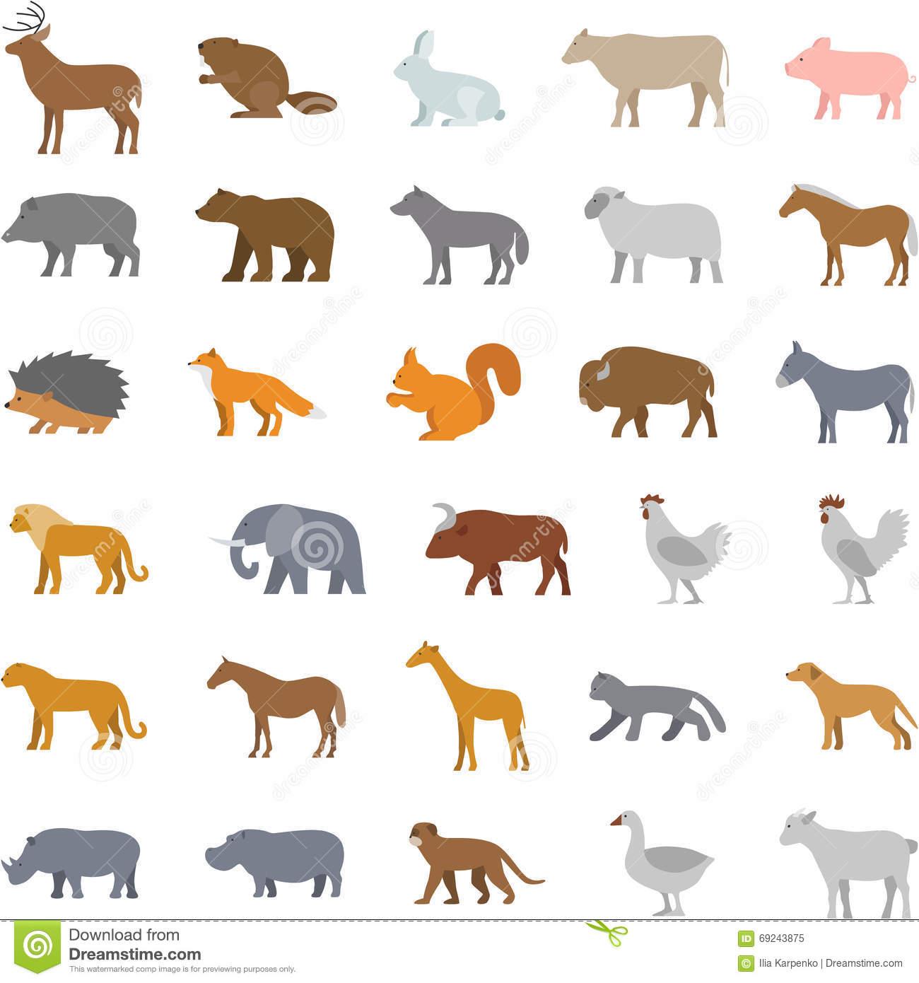 Vector Set Flat Domestic Animals Stock Illustration.