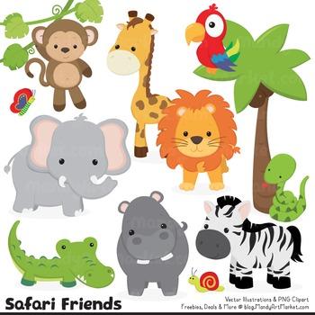 Wild Friends Cute Jungle Animals Clipart & Vectors.