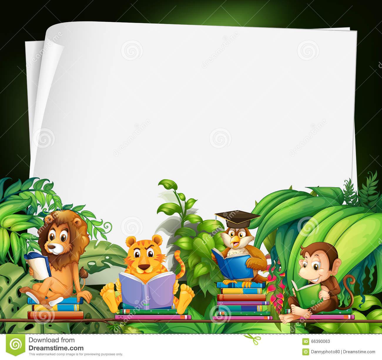 Border Design With Wild Animals Reading Books Stock Vector.