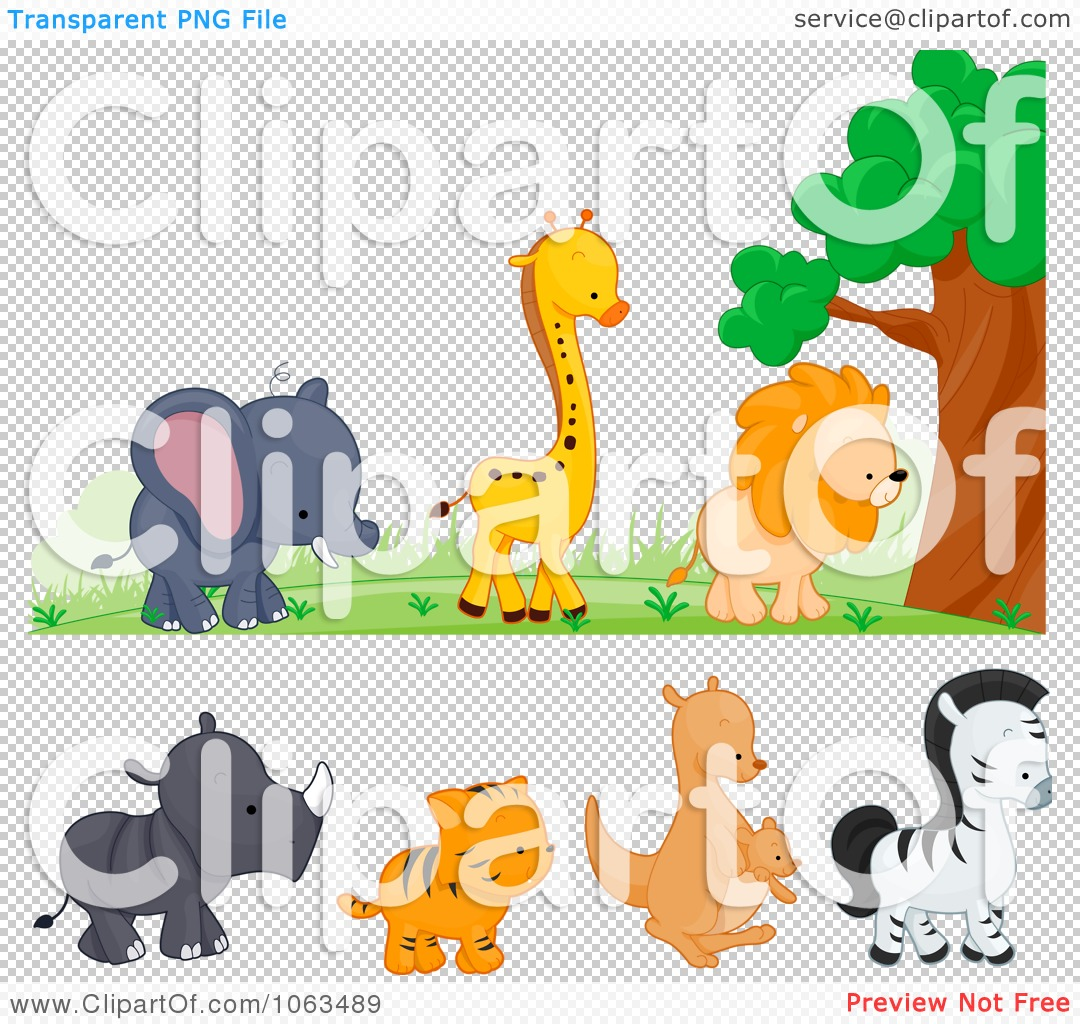Clipart Wild Animal Borders Digital Collage.