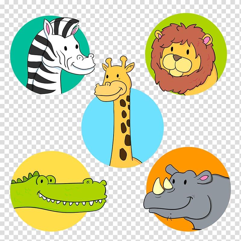 Euclidean Adobe Illustrator Icon, 5 cute wild animal avatar.