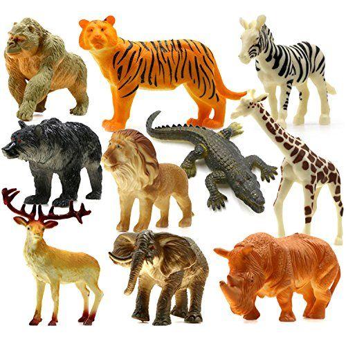 UGGL Animals Figure, 5 inches Jungle Animals Toys Set, 10.