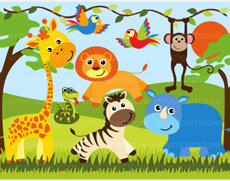Zoo Animals Together Clipart Wild animals clipart -...