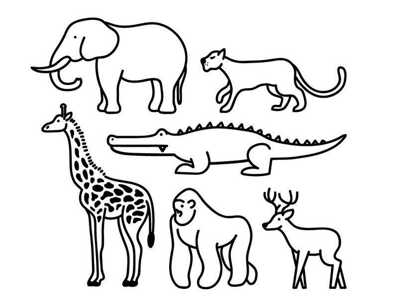 Wild Animal Clipart, Animal Graphic ,Icon Design ,Outline Cartoon Vector  ,Digital File ,Giraffe ,Elephant, Panther, Gorilla, Deer, Crocodile.