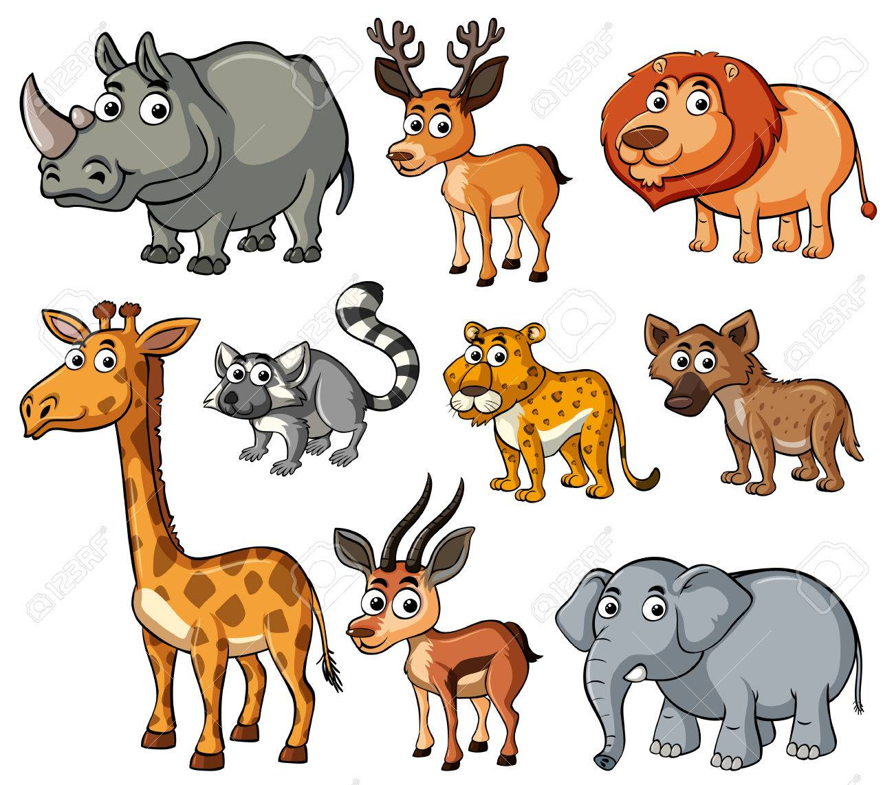 Different kinds of wild animals illustration.