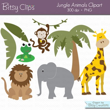 Jungle Animals Digital Art Set Jungle Clipart Animal Clipart Wild Animal  Clipart.