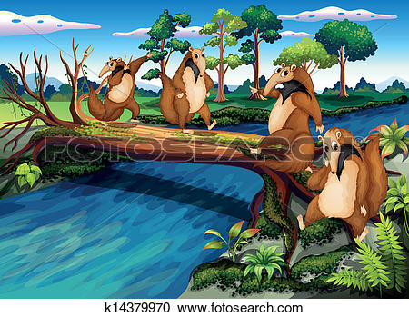Clipart of Four playful wild animals crossing the river k14379970.