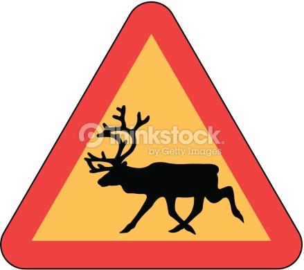 Danger Wild Animal Crossing Elk Reindeer Vector Art.