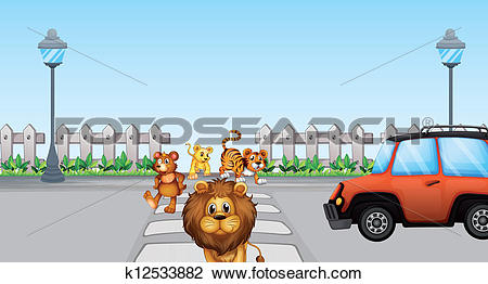 Clipart of Wild animals crossing and a car in the road k12533882.