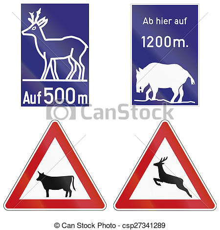 Stock Illustration of Wild Animals Crossing Signs In Germany.