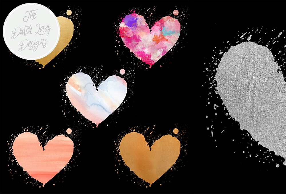 Painted Valentine Hearts Clipart Set.