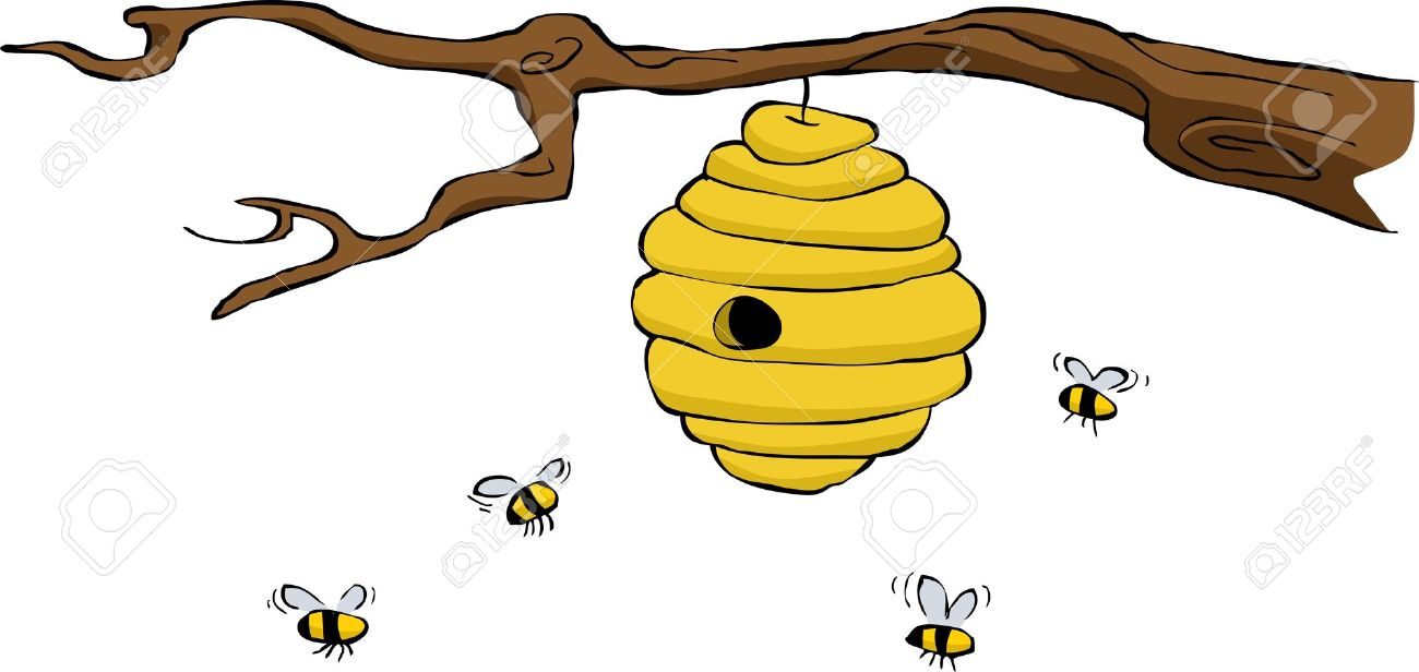 Beehive On A White Background, Vector Illustration Royalty Free.