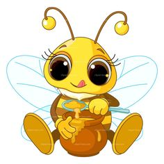 Honey Bee Clipart Image: Cartoon honey bee flying around.