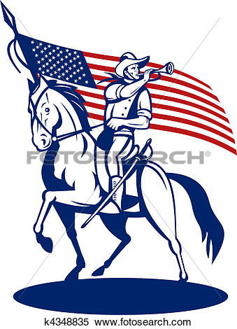 Stock Illustration of American cavalry riding horse blowing a.