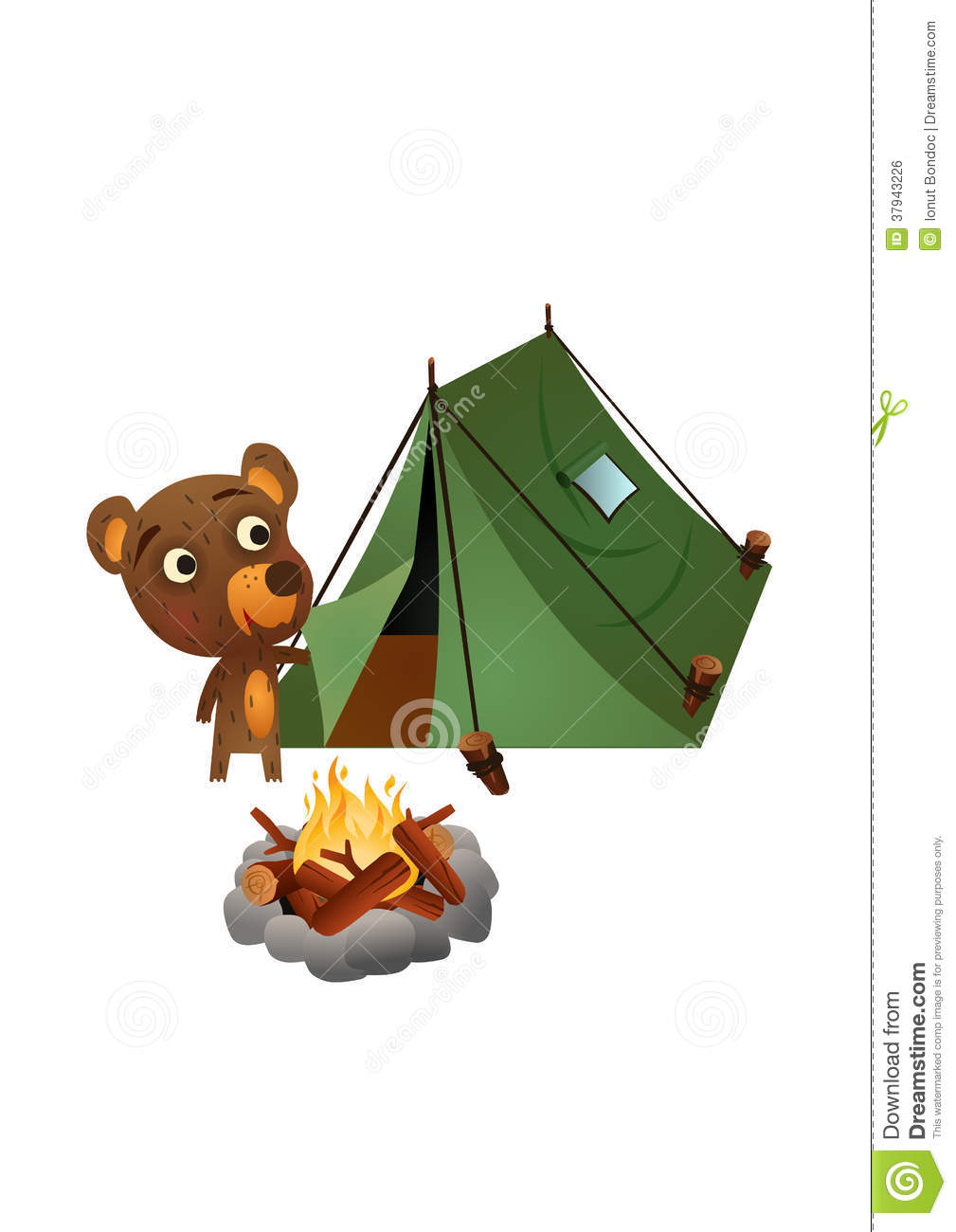 Fun Wild Bear Camping Royalty Free Stock Image.