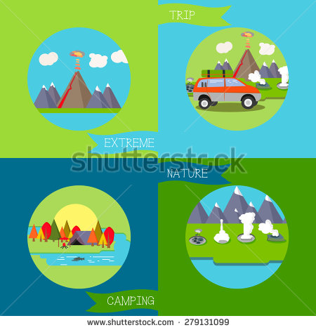 Camping Adventure Time Vector Illustration Stock Vector 384990004.