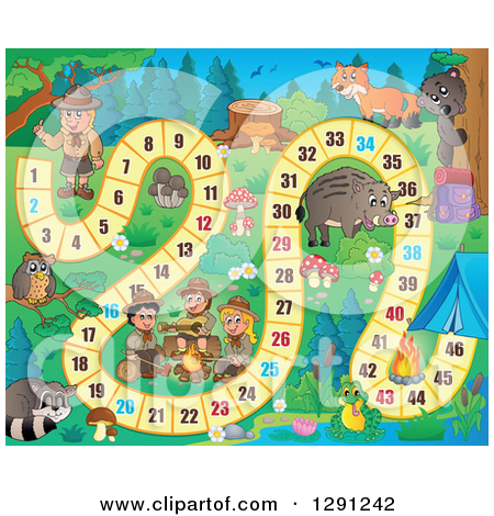 Clipart of a Board Game of Wild Animals and Scouts Camping.