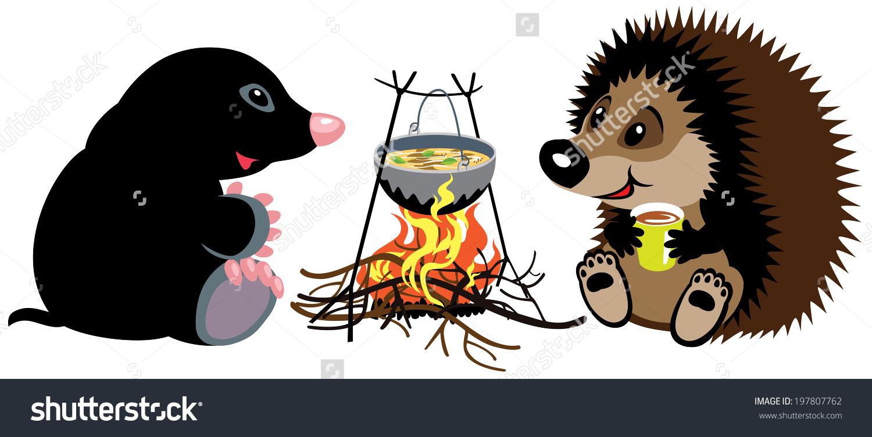 Cartoon Mole And Hedgehog Preparing Food On Campfire In Wild.